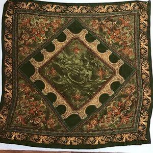 3/$15 Vintage 90s Green Silk Scarf